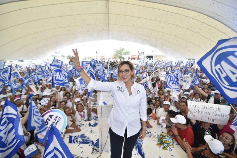 Distrito 14 se pinta de azul con Pilar Gómez
