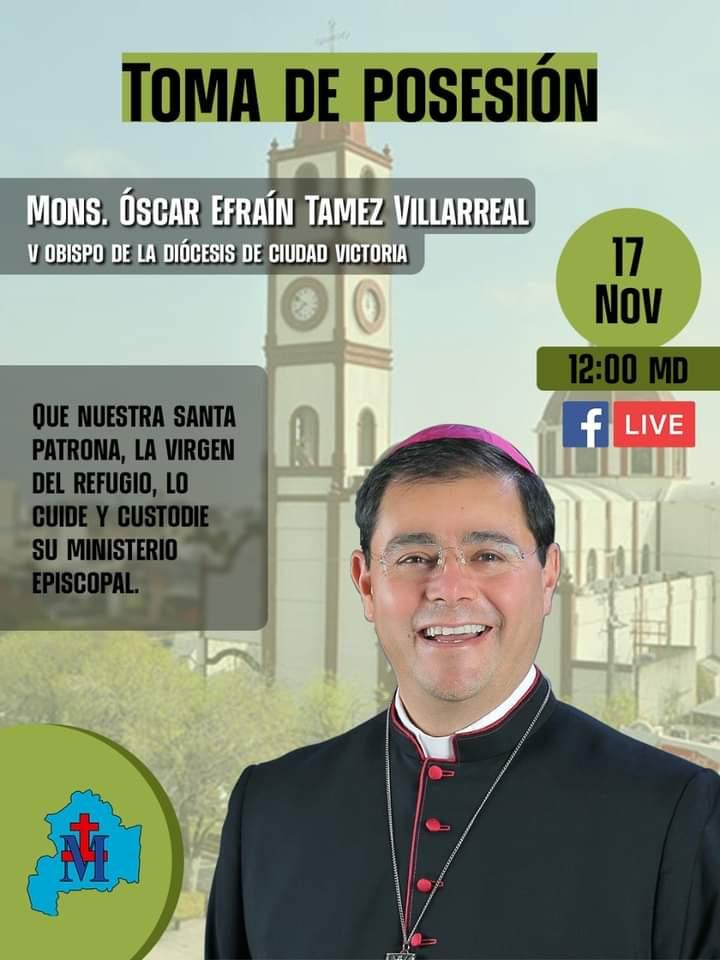 Toma de posesión de Monseñor Oscar Tamez será mediante «Facebook Live»